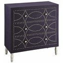 Crestview Collection Accent Furniture Cobalt Blue Fabric And Chrome Nailhead 3 Dra - Item Number: CVFZR1234
