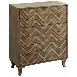 Crestview Collection Accent Furniture Auburn 3 Drawer Rustic Chevron Chest