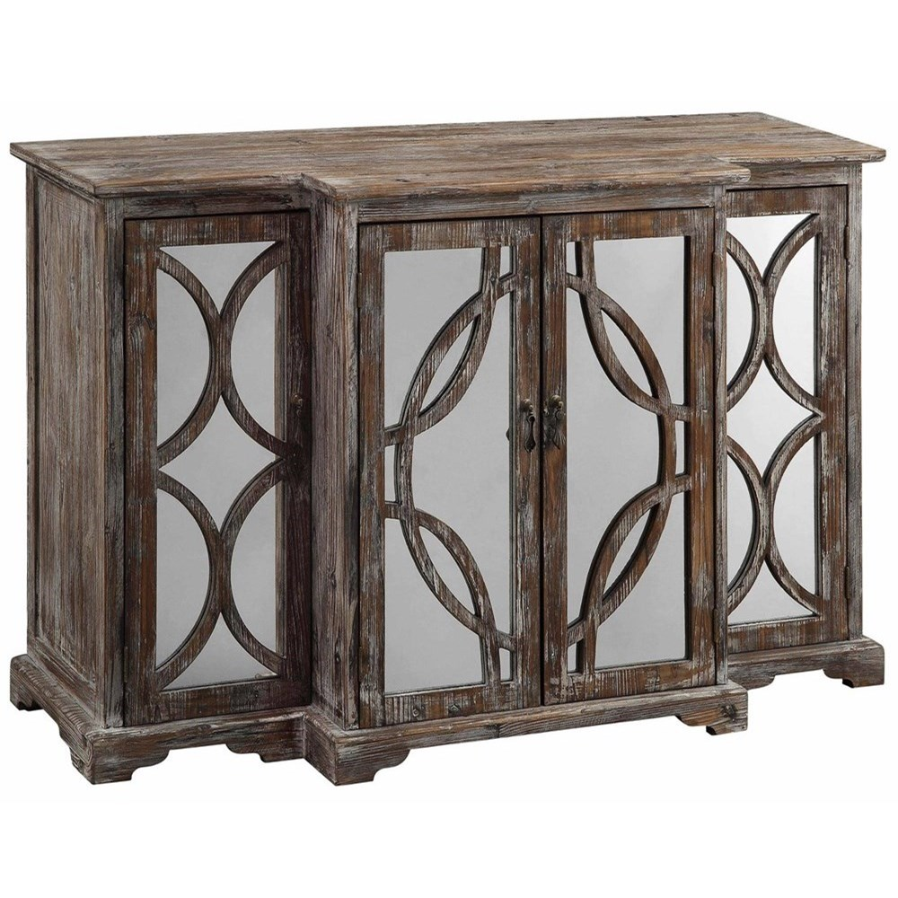 Accent Furniture Galloway 4 Door Rustic Wood And Mirror Sideb by Crestview Collection at Factory Direct Furniture