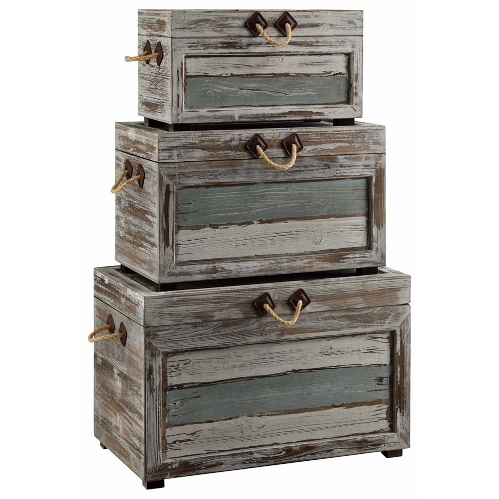 Accent Furniture Nantucket Weathered Wood Trunks by Crestview Collection at Factory Direct Furniture