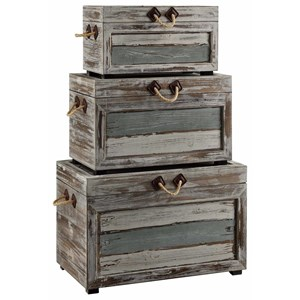 Crestview Collection Accent Furniture Nantucket Weathered Wood Trunks