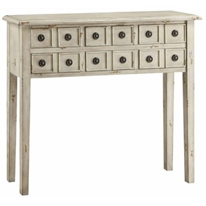 Crestview Collection Accent Furniture Newcastle 6 Drawer Antique White Console