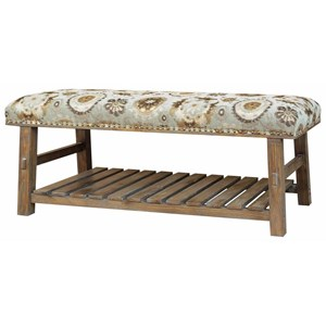 Crestview Collection Accent Furniture Hillcrest Rustic Frame & Pattern Bench