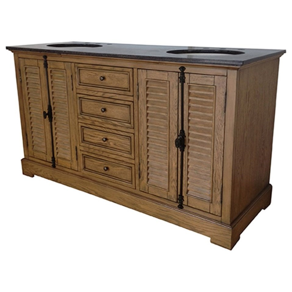 """Accent Furniture Oak Ridge 4 Louvered Door / 4 Drawer 60"""" Dou by Crestview Collection at Factory Direct Furniture"""