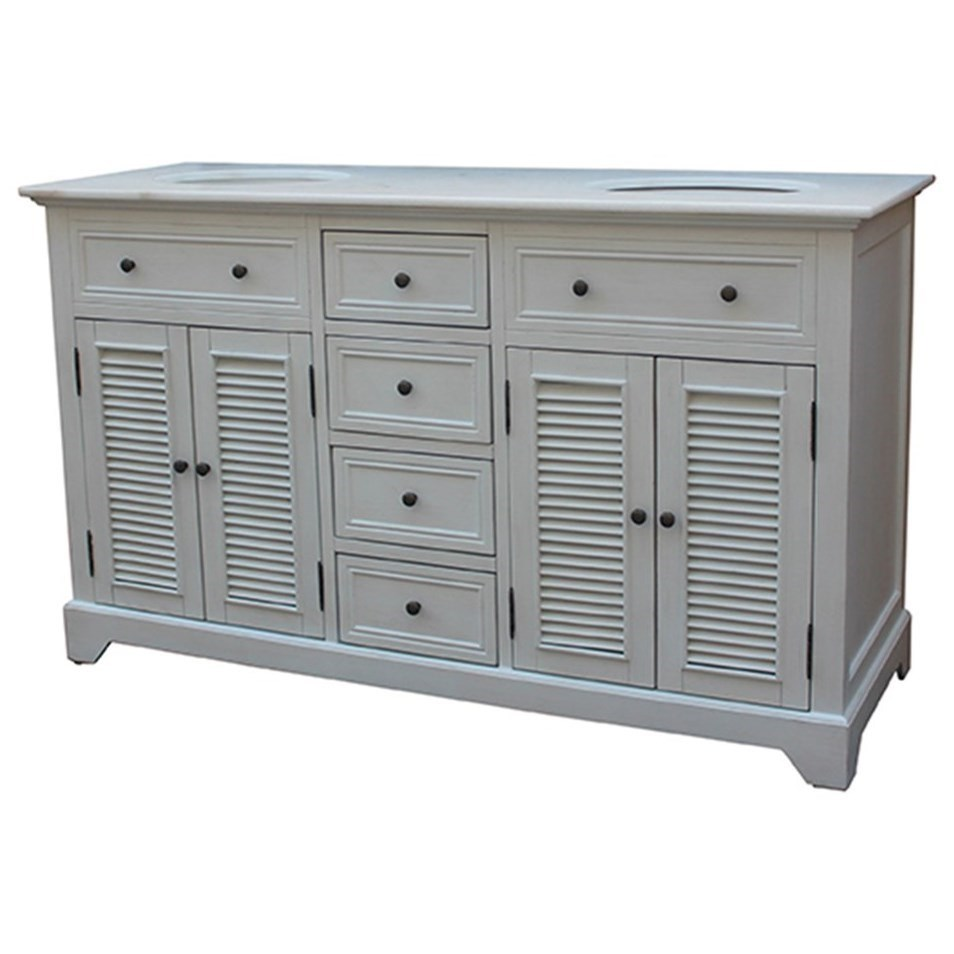 Cottage White 4 Louvered Doors / 4 Drawers 6