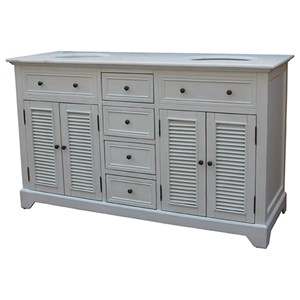 Crestview Collection Accent Furniture Cottage White 4 Louvered Doors / 4  Drawers 6