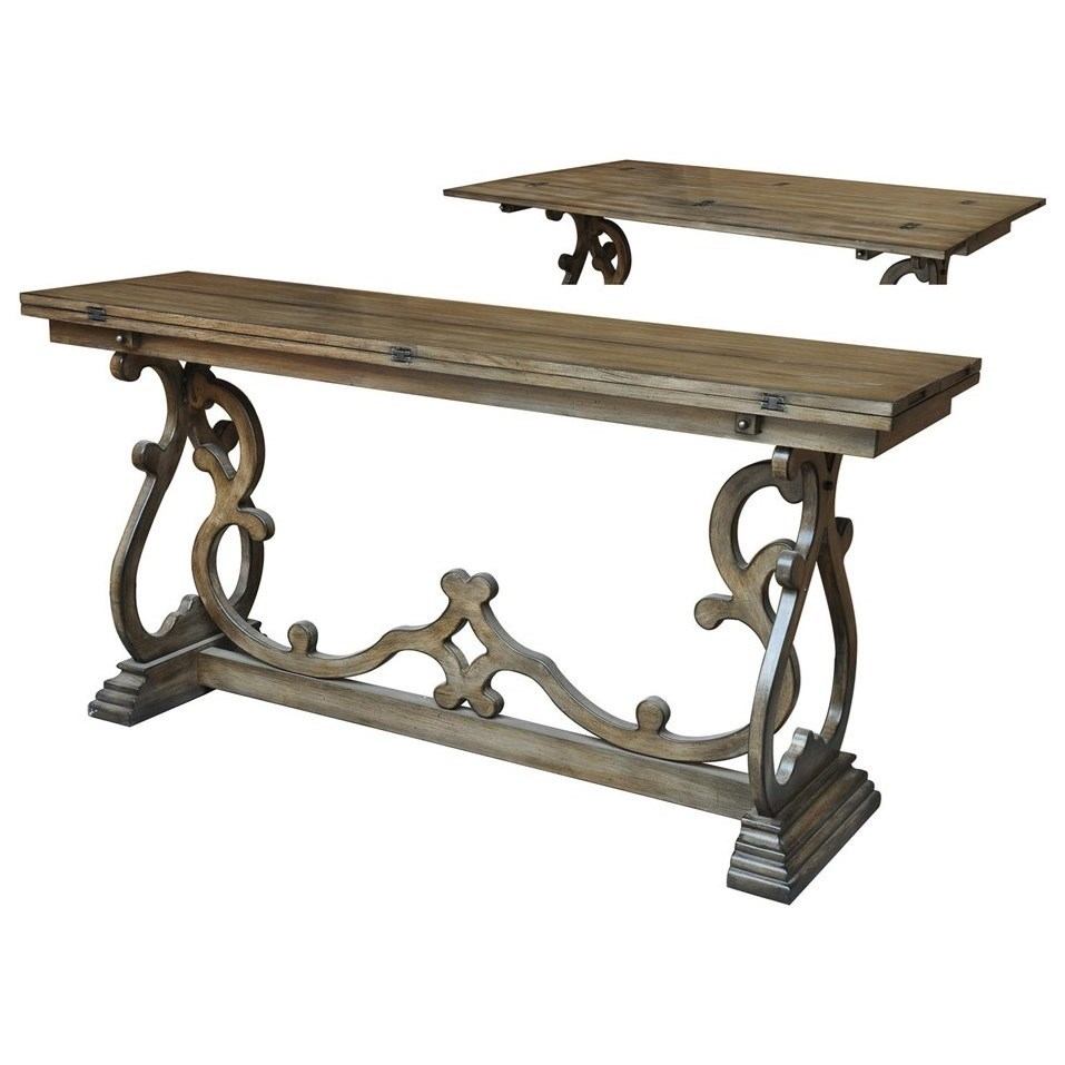 Accent Furniture Monticello Shaped Leg Flip Out Sofa Table by Crestview Collection at Factory Direct Furniture