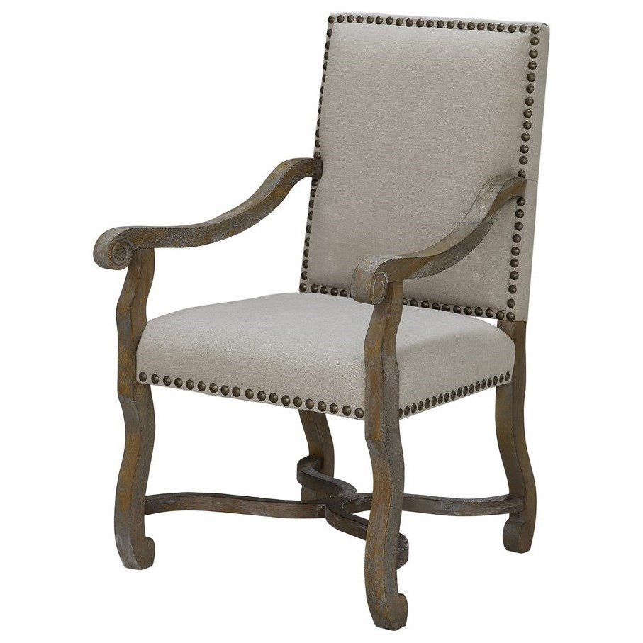 Crestview Collection Accent Furniture St. James Nailhead And Linen Chair - Item Number: CVFZR1474