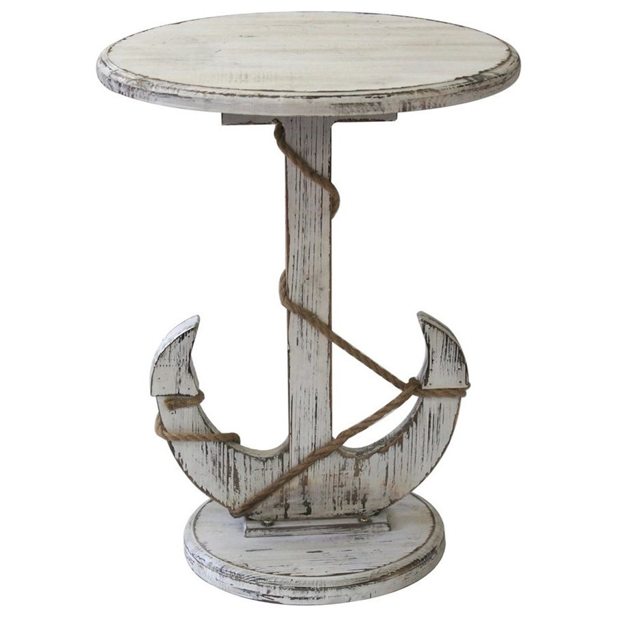 Harbor Distressed White Anchor Table