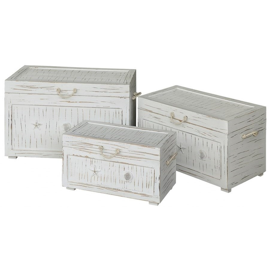 Accent Furniture Seaside White Shell Set Of 3 Trunks by Crestview Collection at Factory Direct Furniture
