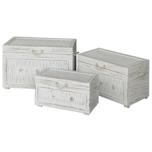 Crestview Collection Accent Furniture Seaside White Shell Set Of 3 Trunks