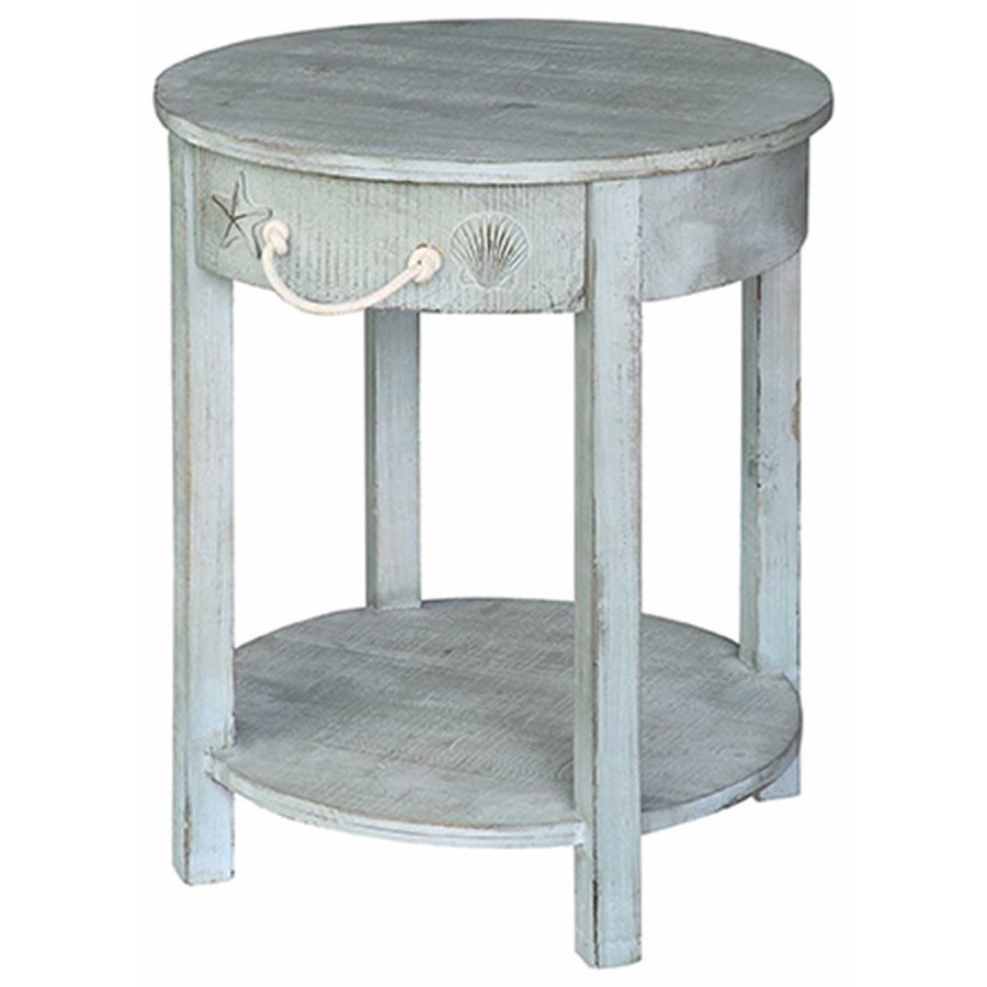 Accent Furniture Bayside Blue Shell 1 Drawer Round Accent Tab by Crestview Collection at Factory Direct Furniture