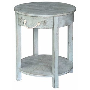 Crestview Collection Accent Furniture Bayside Blue Shell 1 Drawer Round  Accent Tab