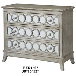 Crestview Collection Accent Furniture Beverly Gold Leaf Mirrored Circle 3 Drawer C