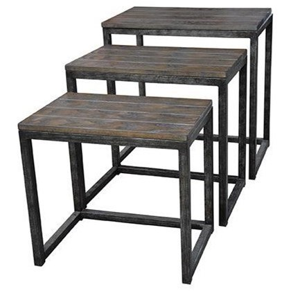 Accent Furniture Trail Ridge Aged Metal and Burnished Oak Set by Crestview Collection at Factory Direct Furniture