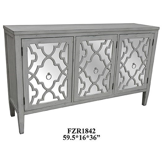 Accent Furniture Marissa Antique White Pattern Mirror 3 Door  by Crestview Collection at Factory Direct Furniture