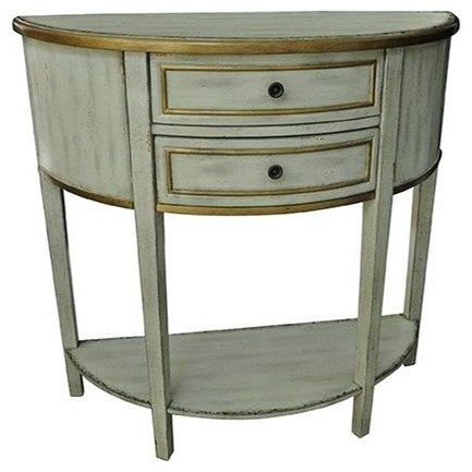 Livingston Textured 2 Drawer Demilune Consol