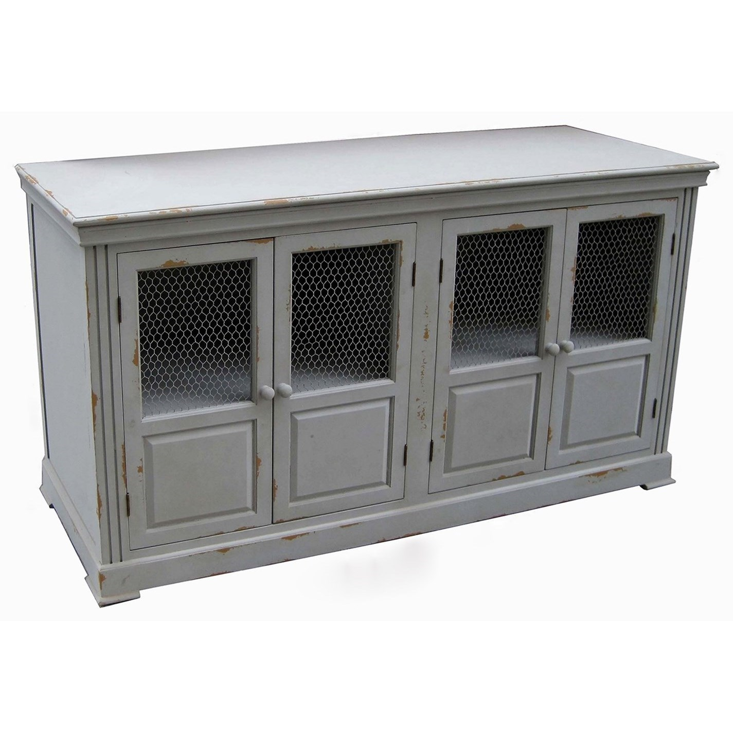 Accent Furniture Lydia Pale Grey and Chicken Wire Sideboard by Crestview Collection at Factory Direct Furniture