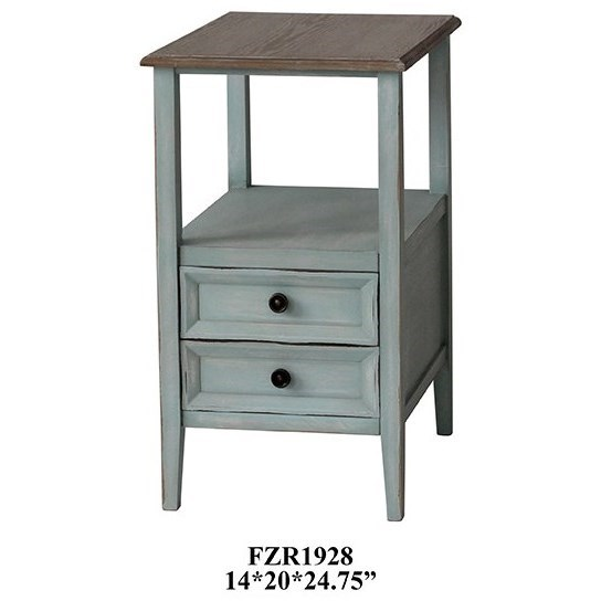 Bethany 2 Drawer Sea Mist Chairside w/ Wood