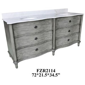 Curved 4 Drawer Double Vanity Sink