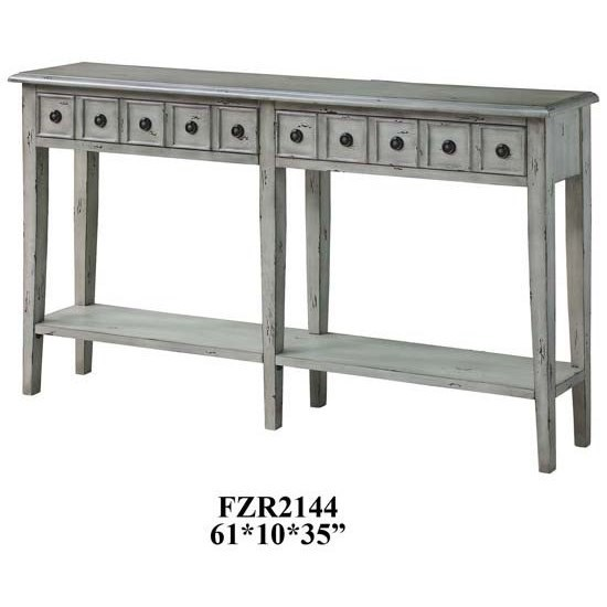 Accent Furniture Newcastle 2 Drawer Antique White Console by Crestview Collection at Factory Direct Furniture