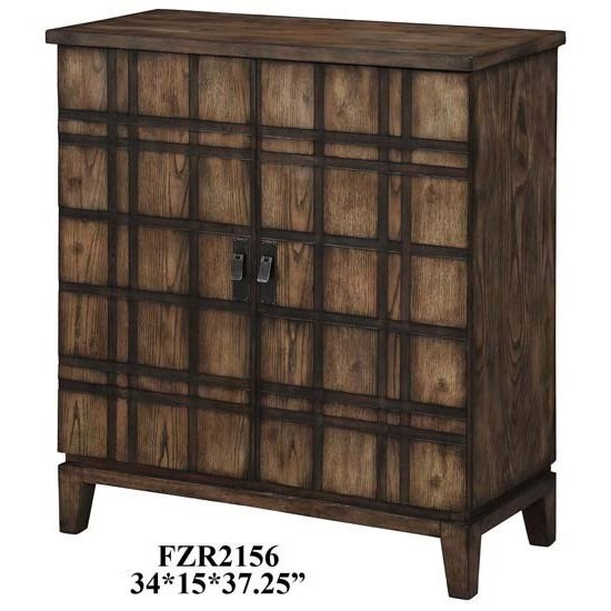 Accent Furniture Fairfax Plaid Oak 2 Door Cabinet by Crestview Collection at Factory Direct Furniture