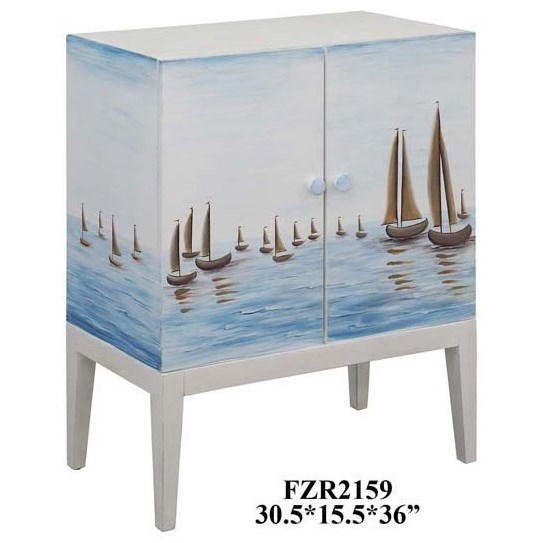 Accent Furniture Harbor View 2 Door Sailboat Cabinet by Crestview Collection at Factory Direct Furniture
