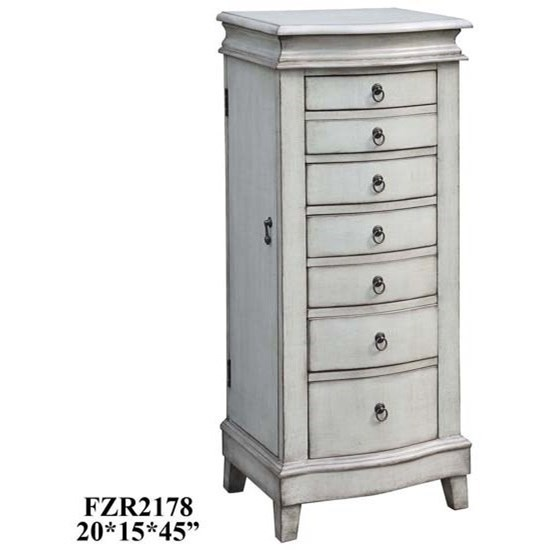 Accent Furniture Evelyn Pale Grey Jewelry Armoire by Crestview Collection at Factory Direct Furniture