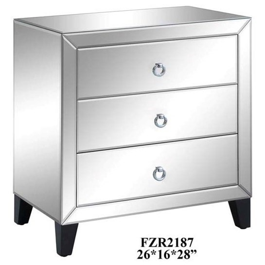 Crestview Collection Accent Furniture Bentley 3 Drawer Beveled Mirrord Chest - Item Number: CVFZR2187