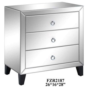 Crestview Collection Accent Furniture Bentley 3 Drawer Beveled Mirrord Chest