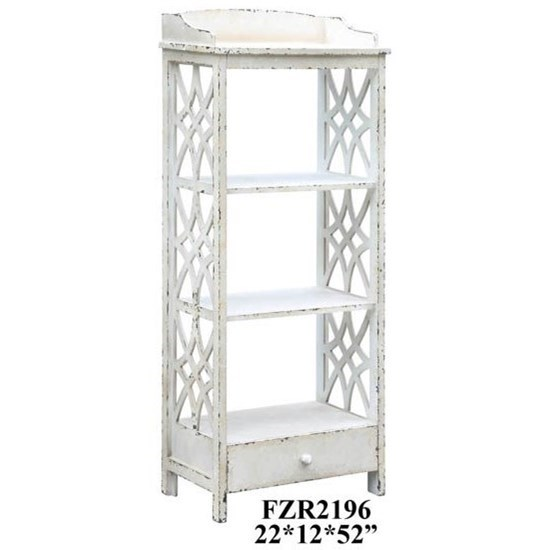Crestview Collection Accent Furniture Magnolia 1 Drawer Distressed White Etagere - Item Number: CVFZR2196