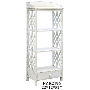 Crestview Collection Accent Furniture Magnolia 1 Drawer Distressed White Etagere
