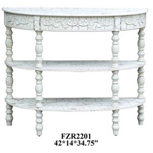 Crestview Collection Accent Furniture Genevieve Antique Crackled White Demilune Co