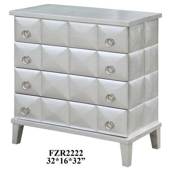 Accent Furniture SoHo 4 Drawer Pyramid Front Silver Leaf Ches by Crestview Collection at Factory Direct Furniture