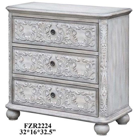 Annabelle 3 Drawer French Scroll Overlay Ant