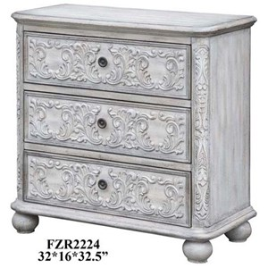 Crestview Collection Accent Furniture Annabelle 3 Drawer French Scroll Overlay Ant