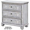 Crestview Collection Accent Furniture Annabelle 3 Drawer French Scroll Overlay Ant - Item Number: CVFZR2224