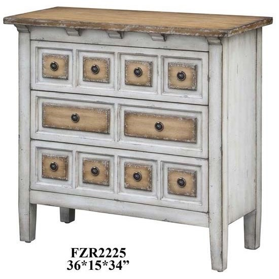 Accent Furniture Donovan 3 Drawer Raised Front Two Tone Chest by Crestview Collection at Factory Direct Furniture