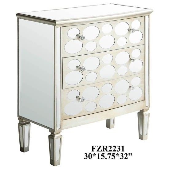 Accent Furniture Felicity 3 Drawer Oval Mirror Design Champag by Crestview Collection at Factory Direct Furniture