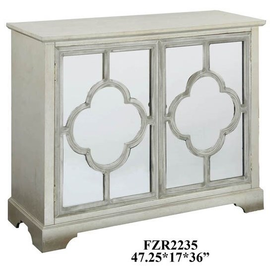 Accent Furniture Camille Silver Leaf 2 Mirrored Door Quatrefo by Crestview Collection at Factory Direct Furniture