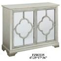 Crestview Collection Accent Furniture Camille Silver Leaf 2 Mirrored Door Quatrefo - Item Number: CVFZR2235