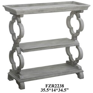Crestview Collection Accent Furniture Chelsea Tray Top Grey Quatrefoil Console Tab