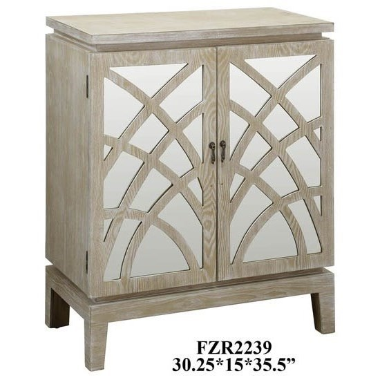 Accent Furniture Biscayne Light Oak 2 Mirrored Design Door Ca by Crestview Collection at Factory Direct Furniture