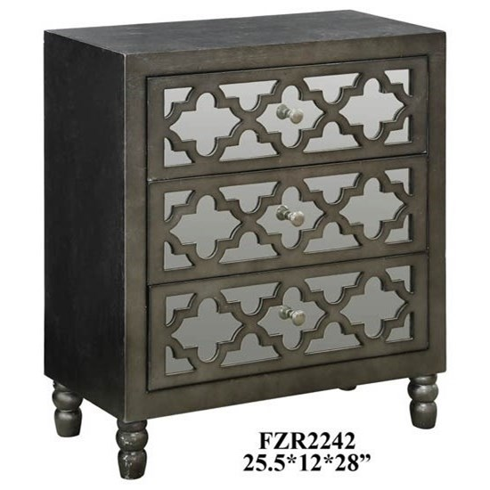 Avery 3 Mirrored Drawer Silver Leaf Chest w/