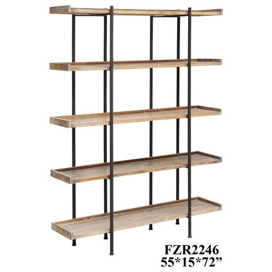 Accent Furniture Wingate Rustic Wood and Metal 4 Shelf Etager by Crestview Collection at Factory Direct Furniture