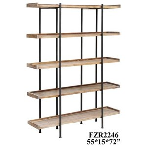 Crestview Collection Accent Furniture Wingate Rustic Wood and Metal 4 Shelf Etager