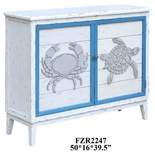 Accent Furniture Block Island Whitewash 2 Door Crab and Turtl by Crestview Collection at Factory Direct Furniture