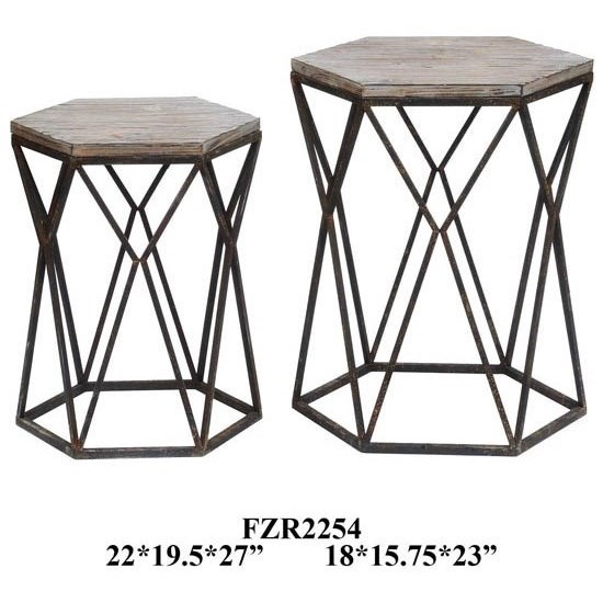 Accent Furniture Buena Vista Rustic Metal and Wood Set of Tab by Crestview Collection at Factory Direct Furniture