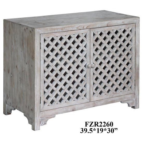 Accent Furniture Charlotte 2 Door Light Wash Diamond Lattice  by Crestview Collection at Factory Direct Furniture