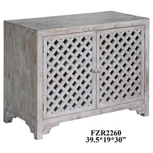 Crestview Collection Accent Furniture Charlotte 2 Door Light Wash Diamond Lattice